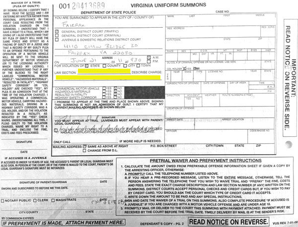 Reading Your Summons Learn how to read a Virginia Uniform Summons and to understand what it says.